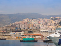 View of Genoa Italy from the sea Royalty Free Stock Photos