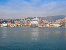 View of Genoa Italy from the sea Stock Photo