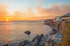 View of Genoa Nervi, Italy, cliffs and walk at sunset stock photos