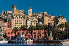 View of Genoa and the old neighborood called Castello; the tower on the top left is called Torre degli Embriaci Royalty Free Stock Photos