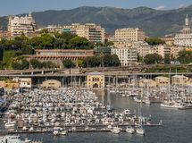 View of the Genoa Port stock photography