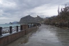 View of the Genoese fortress with an empty promenade Royalty Free Stock Photo