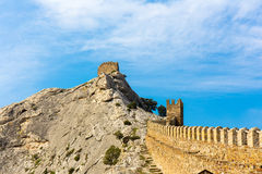 View of Genoese medieval fortress in Sudak Crimea Royalty Free Stock Photo