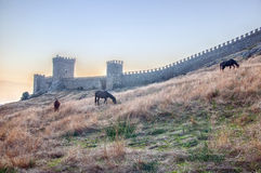 View of Genoese medieval fortress in Sudak Crimea Stock Photos