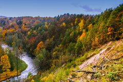 View from geological Puckoriai , Puckoriai exposure, Vilnia river, Lithuanian highest exposure 65 m high. Vilnius, Lithuania. Colorful autumn Royalty Free Stock Image