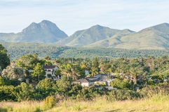 View of George in South Africa. GEORGE, SOUTH AFRICA - JANUARY 4, 2015: View of one of the suburbs in George with the Outeniqua Mountains in the background Stock Images
