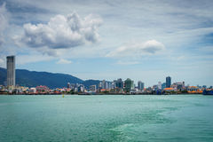 View of George town, Penang, Malaysia. Penang, Malaysia - circa September 2016: View of George town, Penang, Malaysia from ferry to Butterworth. George town is Stock Photography