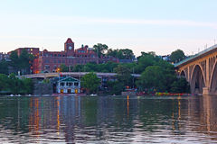 A view on Georgetown boat station and Key Bridge after sunset. Stock Photo