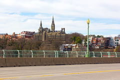 A view on Georgetown from Key Bridge in spring. Royalty Free Stock Photos
