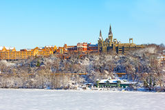 A view on Georgetown University after snowstorm. Royalty Free Stock Photos