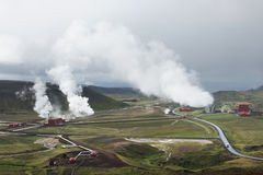 View of the geothermal power station at Krafla, Iceland Royalty Free Stock Photos