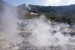 View of the geothermal spa in Japan royalty free stock images