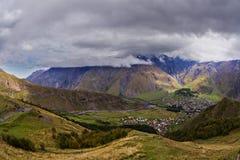 View from Gergetti shurch in Caucasus. Georgia Stock Photo