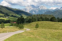German Alpine road near Bavarian Berchtesgaden Royalty Free Stock Photography
