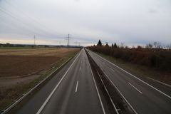 View of the German autobahn from the bridge.  royalty free stock photos
