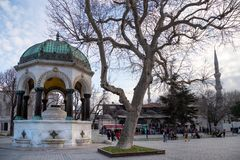 View of the German Fountain in Sultanahmet Square, Istanbul, Turkey. Istanbul / Turkey - 01/19/2019: View of the German Fountain in Sultanahmet Square, Istanbul stock image