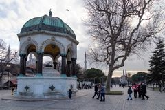 View of the German Fountain in Sultanahmet Square, Istanbul, Turkey. Istanbul / Turkey - 01/19/2019: View of the German Fountain in Sultanahmet Square, Istanbul stock photo