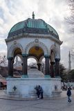 View of the German Fountain in Sultanahmet Square, Istanbul, Turkey. Istanbul / Turkey - 01/19/2019: View of the German Fountain in Sultanahmet Square, Istanbul stock photography