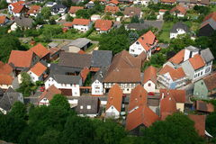 View of a German Village. View from above onto a german village with modern and historic houses stock photo