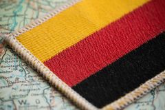 Germany flag on map. View of the Germany flag on map royalty free stock photography