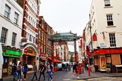 Chinatown view Central London United Kingdom. View of Gerrard Street in the West End of London, in the Chinatown area,London Stock Images