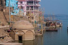 View of a Ghat riverfront steps of sacred river Ganges in Varanasi, Ind. Ia stock images