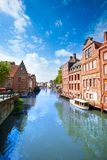 View of Ghent on Leie river in Belgium Royalty Free Stock Images