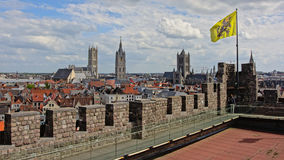 Ghent cityscape, seen from the Castle of the counts  Belgium. View on ghent, showing, the tree famous towers,  St Nicholas' Church, the Belfry, which is Stock Images
