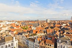 View of Ghent town from Gravensteen castle. Belgium Royalty Free Stock Photo