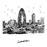 View of Gherkin building (30 St Mary Axe). Stock Images