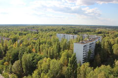 View on ghost town Pripyat 3, Chornobyl zone royalty free stock photography