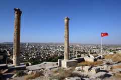 The view from the giant columns which stand atop the Kale (castle) in the city of Urfa (Sanliurfa) in Turkey. The beautiful view from the giant columns which stock images