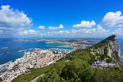 View of Gibraltar. Aerial view of Rock of Gibraltar with city and coastline in background, Iberian Peninsula royalty free stock image