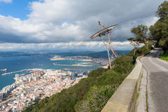View on Gibraltar and Cable Car Line. High angle view on Gibraltar, Europe and its cable car line which leads to the top of the Rock Royalty Free Stock Photo