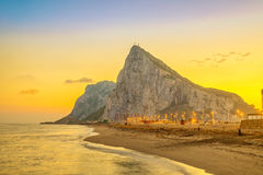 View on Gibraltar rock on sunset Stock Image