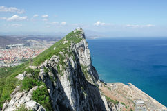 View of Gibraltar Rock, in Upper Rock Natural Reserve. Stock Photo