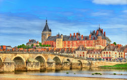 View of Gien with the castle and the bridge across the Loire - France Stock Image