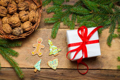 View of gift and gingerbread cookies for Christmas Stock Photos