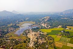 View from Gingee Fort, Thiruvannamalai in Tamil Nadu India. Known as the `Troy of the East ` by the British, Gingee Fort rises out of the Tamilian plains. Lying royalty free stock images