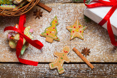 View of gingerbread cookies for Christmas in basket Royalty Free Stock Photo