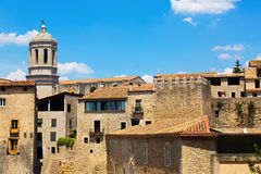 View of Girona with bell tower of Gothic Cathedral Stock Photo