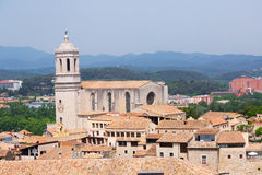 View of Girona with bell tower of Gothic Cathedral Royalty Free Stock Photos