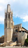 View of Girona with bell tower at summer day Stock Photo