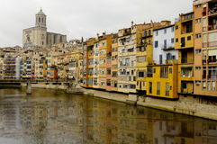View of Girona and the cathedral. View of the houses on the river Onyar in Girona (Spain) and the cathedral in the background royalty free stock photo