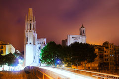 View of Girona -  Church of Sant Feliu and Gothic Cathedral Royalty Free Stock Image