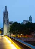 View of Girona -  Church of Sant Feliu and Gothic Cathedral Royalty Free Stock Photo