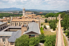 View of Girona city from medieval wall. Catalonia, Spain Royalty Free Stock Photo