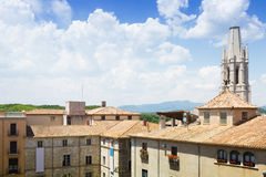 View of Girona with Collegiate Church of Sant Feliu Royalty Free Stock Photos