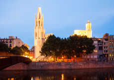 View of of Girona in evening time Stock Photos
