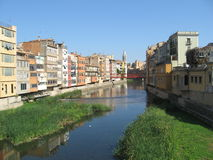 View of Girona old town with a river Royalty Free Stock Photos